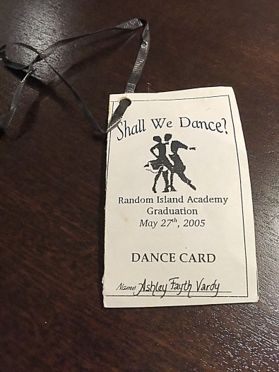 The dance card from my high school graduation/prom (2005)