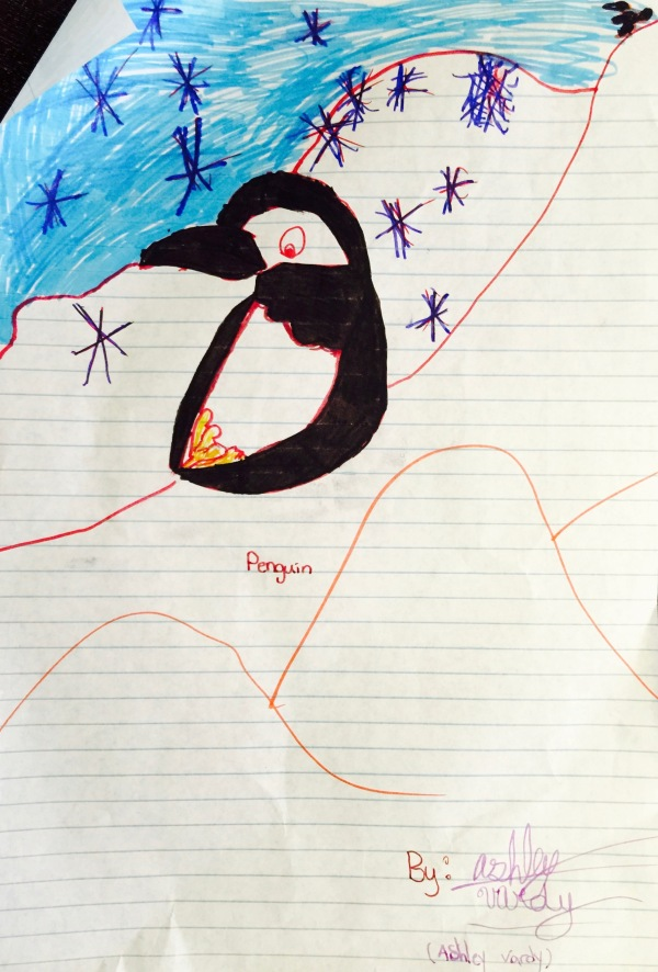 A picture of a penguin. Drawn by me. I hope at a very young age, although my artistic skills haven't really advanced . . .