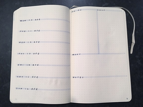 Weekly spread (before): daily diary on the left, and to-dos, shopping list, menu, and notes on the right.