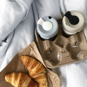 Breakfast in bed with takeaway cortados and croissants from Codos.