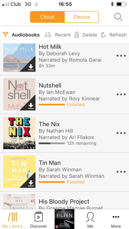 My Audible library. I keep the book I'm currently reading on my phone, and the others are stored in the cloud.